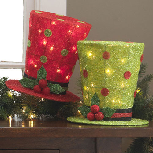 "Santa Hat Christmas Tree Topper: Raz Imports 10"" Lighted Christmas Top Hat Tree Topper Red"