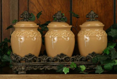 Set Of 3 Drake Design Butterscotch Spice Jars Ceramic Kitchen Decor Canisters Ebay