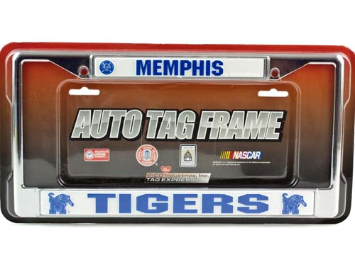 Memphis Tigers Metal Chrome Auto License Plate Frame Car University